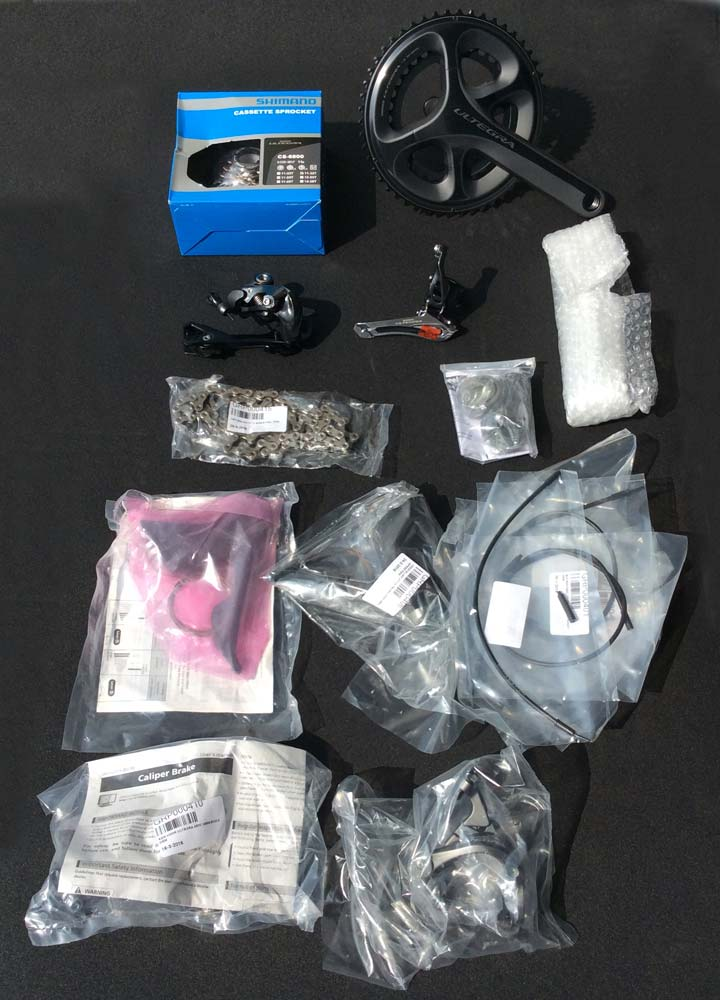 Bicycle components packaged