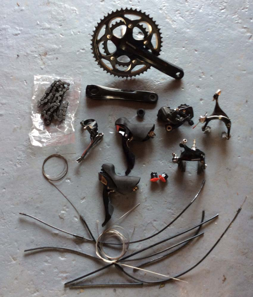 Bicycle components on floor