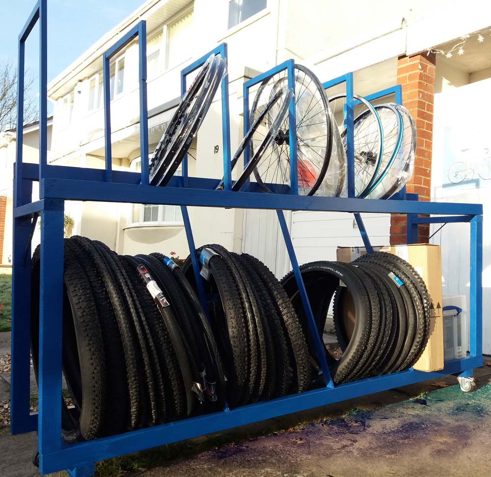 Blue Tyre and Wheel Storage Rack