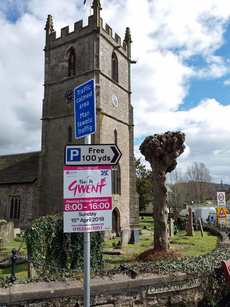 Tour de Gwent Sign in front of Church Tower